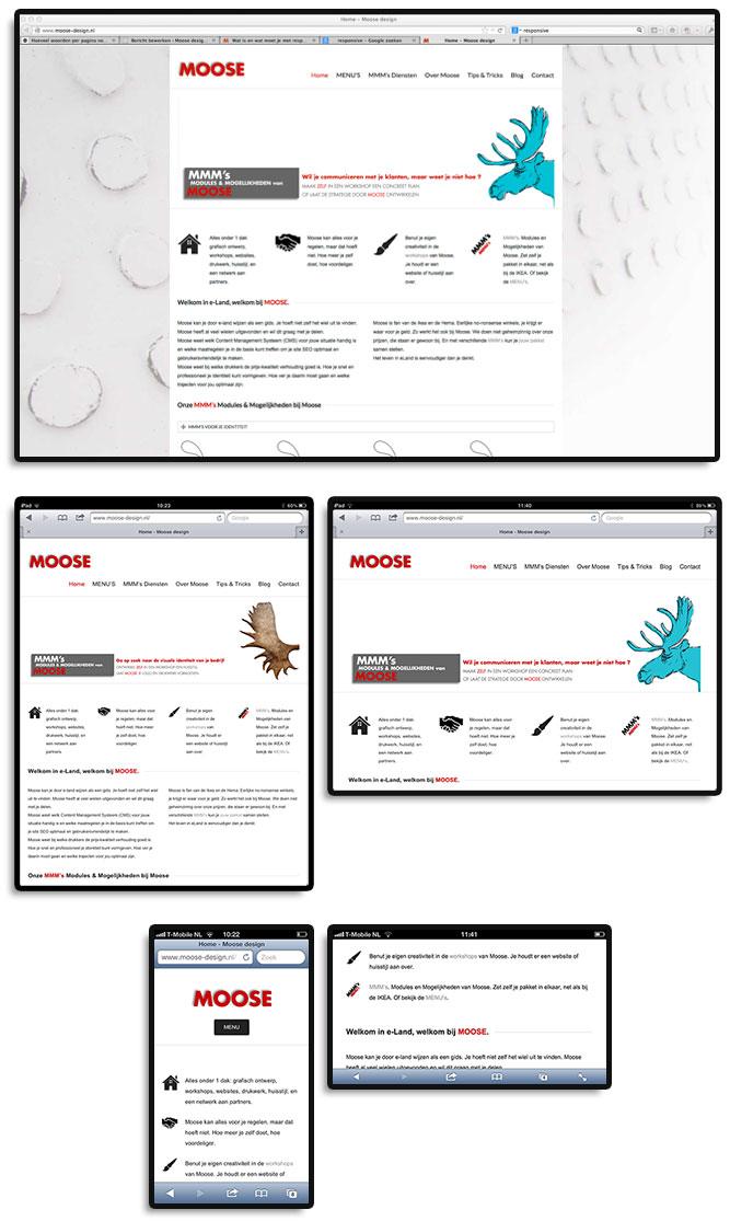 Voorbeelden hoe een website zich aanpast aan het formaat